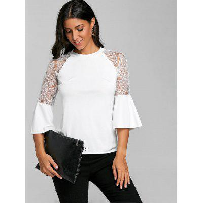 Lace Panel Raglan Flare Sleeve TopBlouses<br>Lace Panel Raglan Flare Sleeve Top<br><br>Collar: Round Neck<br>Embellishment: Lace<br>Material: Cotton, Polyester, Spandex<br>Package Contents: 1 x Top<br>Pattern Type: Solid<br>Season: Fall, Spring<br>Shirt Length: Regular<br>Sleeve Length: Three Quarter<br>Sleeve Type: Flare Sleeve<br>Style: Fashion<br>Weight: 0.2300kg