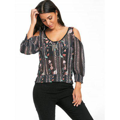 Floral Print Cold Shoulder Chiffon BlouseBlouses<br>Floral Print Cold Shoulder Chiffon Blouse<br><br>Collar: V-Neck<br>Material: Polyester<br>Package Contents: 1 x Blouse<br>Pattern Type: Floral<br>Season: Fall, Spring, Summer<br>Shirt Length: Short<br>Sleeve Length: Three Quarter<br>Style: Fashion<br>Weight: 0.2000kg