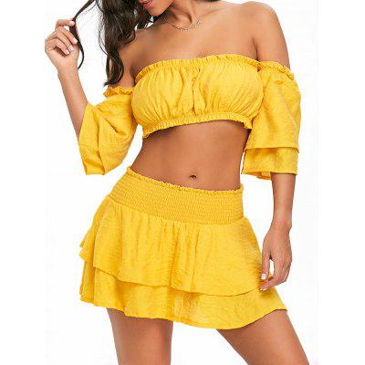 Back Tie Up Bandeau Top and Ruffle Skirt
