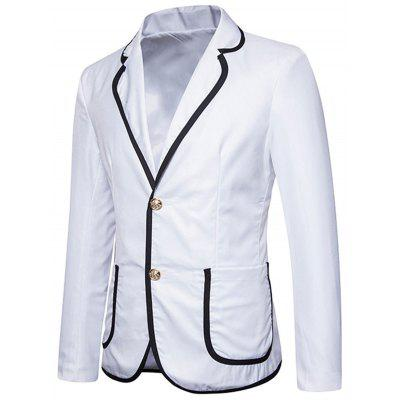 Contrast Trim Lapel Collar Casual BlazerMens Blazers<br>Contrast Trim Lapel Collar Casual Blazer<br><br>Closure Type: Single Breasted<br>Material: Polyester<br>Package Contents: 1 x Blazer<br>Shirt Length: Regular<br>Sleeve Length: Long Sleeves<br>Weight: 0.6100kg