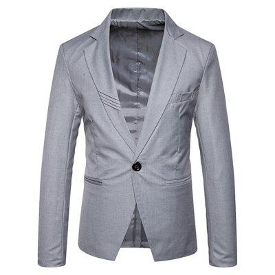 Buy GRAY M Lapel Collar One Button Brief Blazer for $55.69 in GearBest store