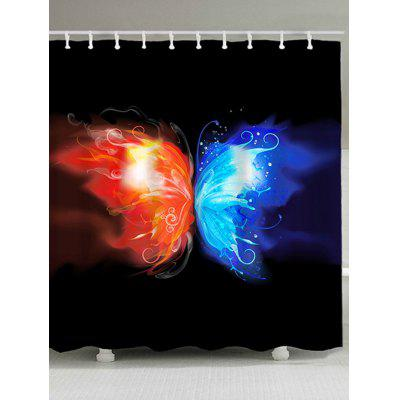 Fire and Water Butterfly Print Waterproof Shower Curtain
