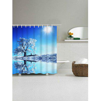 Sunshine Snow Tree Reflection Print Waterproof Shower Curtain natural landscape waterfall print waterproof shower curtain