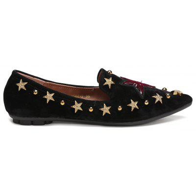 Pointed Toe Star Metal Embellished Flats