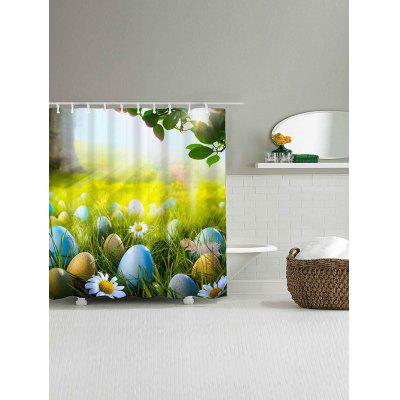 Grass Egg Flower Print Waterproof Shower Curtain natural landscape waterfall print waterproof shower curtain