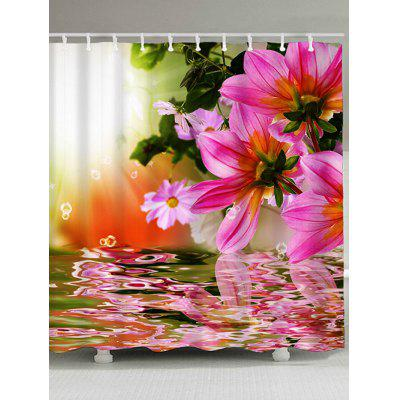 Flower Reflection Print Waterproof Shower Curtain