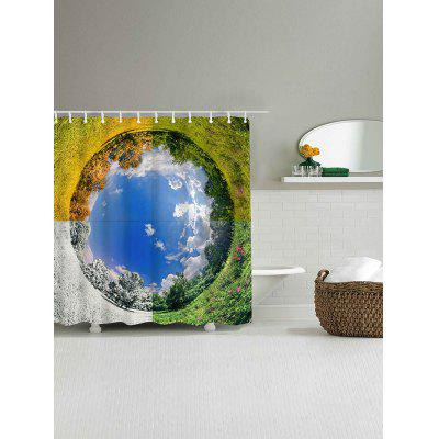 Four Seasons Landscape Print Waterproof Shower Curtain natural landscape waterfall print waterproof shower curtain