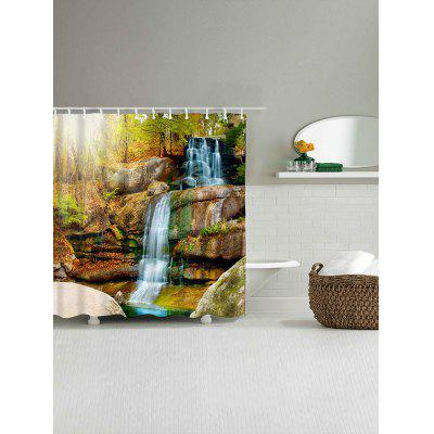 Natural Landscape Waterfall Print Waterproof Shower Curtain natural landscape waterfall print waterproof shower curtain