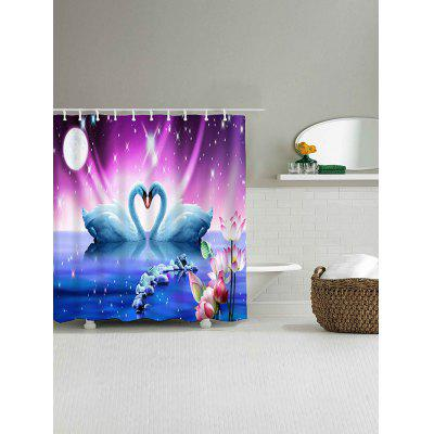 Geese Love Print Waterproof Polyester Shower Curtain natural landscape waterfall print waterproof shower curtain