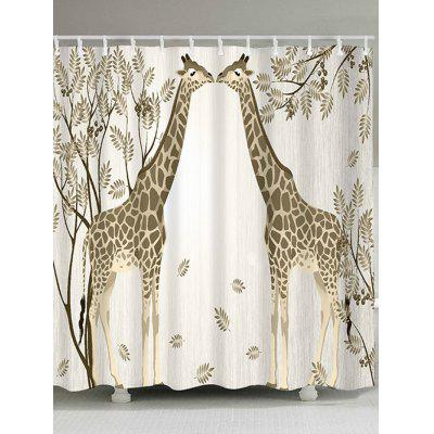 Giraffe Couple Print Waterproof Polyester Shower Curtain