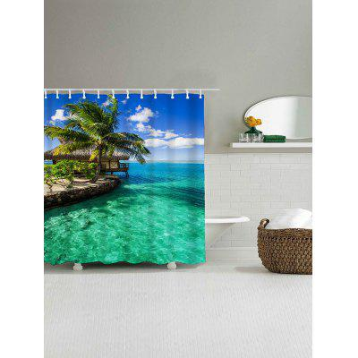 Seaside Scenery Print Waterproof Polyester Shower Curtain natural landscape waterfall print waterproof shower curtain