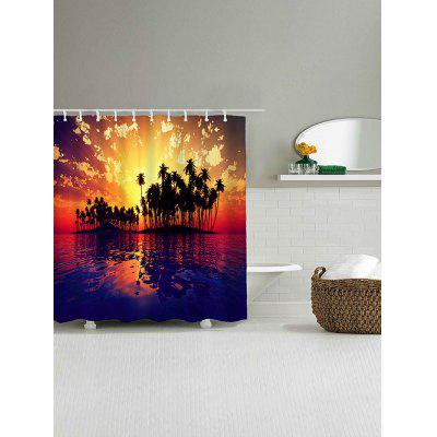 Sunset Seascape Print Waterproof Shower Curtain natural landscape waterfall print waterproof shower curtain