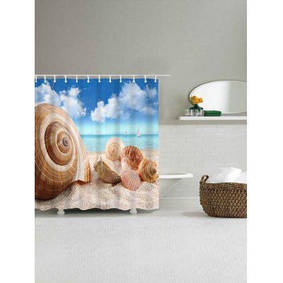 Beach Conch Shell Print Waterproof Shower Curtain natural landscape waterfall print waterproof shower curtain