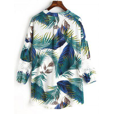 Palm Leaf Printed Lace Panel BlouseBlouses<br>Palm Leaf Printed Lace Panel Blouse<br><br>Collar: V-Neck<br>Elasticity: Nonelastic<br>Embellishment: Lace,Panel<br>Material: Polyester<br>Occasion: Casual<br>Package Contents: 1 x Blouse<br>Pattern Type: Plant, Print<br>Seasons: Autumn,Spring,Summer<br>Shirt Length: Regular<br>Sleeve Length: Three Quarter<br>Style: Casual<br>Weight: 0.2000kg