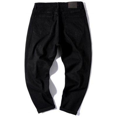 Graphic Destroyed Straight JeansMens Pants<br>Graphic Destroyed Straight Jeans<br><br>Closure Type: Zipper Fly<br>Fabric Type: Denim<br>Fit Type: Regular<br>Material: Cotton, Polyester<br>Package Contents: 1 x Jeans<br>Pant Length: Long Pants<br>Pant Style: Straight<br>Waist Type: Mid<br>Wash: Destroy Wash<br>Weight: 0.8200kg<br>With Belt: No