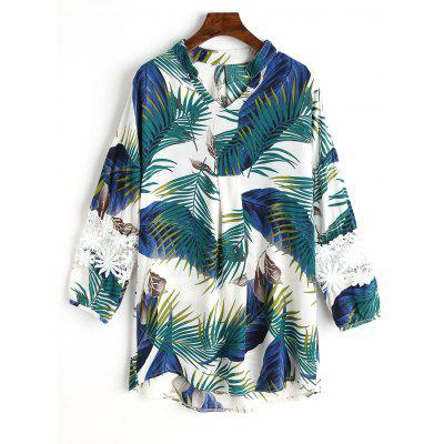 Palm Leaf Printed Lace Panel Blouse
