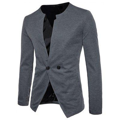 Double Button Collarless Casual BlazerMens Blazers<br>Double Button Collarless Casual Blazer<br><br>Closure Type: Single Breasted<br>Material: Polyester<br>Package Contents: 1 x Blazer<br>Shirt Length: Regular<br>Sleeve Length: Long Sleeves<br>Weight: 0.5800kg