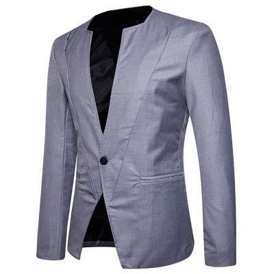 One Button Collarless BlazerMens Blazers<br>One Button Collarless Blazer<br><br>Closure Type: Single Breasted<br>Material: Polyester<br>Package Contents: 1 x Blazer<br>Shirt Length: Regular<br>Sleeve Length: Long Sleeves<br>Weight: 0.5500kg