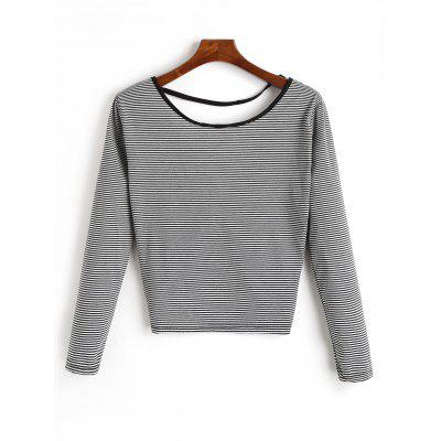 Long Sleeve Twist Knot Back Cropped T-shirtTees<br>Long Sleeve Twist Knot Back Cropped T-shirt<br><br>Collar: Round Neck<br>Elasticity: Micro-elastic<br>Material: Polyester<br>Package Contents: 1 x Cropped T Shirt<br>Pattern Type: Striped<br>Seasons: Spring/Fall,Winter<br>Shirt Length: Crop Top<br>Sleeve Length: Full<br>Style: Casual<br>Weight: 0.2100kg