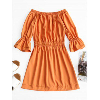 Off Shoulder Bell Sleeve Mini DressMini Dresses<br>Off Shoulder Bell Sleeve Mini Dress<br><br>Dresses Length: Mini<br>Material: Polyester<br>Neckline: Off The Shoulder<br>Package Contents: 1 x Dress<br>Pattern Type: Solid Color<br>Season: Spring, Summer<br>Sleeve Length: 3/4 Length Sleeves<br>Weight: 0.2850kg<br>With Belt: No