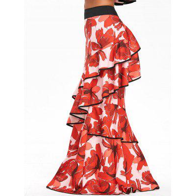 Buy RED L High Waisted Ruffled Floral Print Maxi Skirt for $39.46 in GearBest store