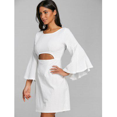 Cut Out Bell Sleeve Bowknot Mini DressWomens Dresses<br>Cut Out Bell Sleeve Bowknot Mini Dress<br><br>Dresses Length: Mini<br>Embellishment: Bowknot,Cut Out<br>Material: Polyester, Spandex<br>Neckline: Scoop Neck<br>Package Contents: 1 x Dress<br>Pattern Type: Solid Color<br>Season: Spring, Fall<br>Silhouette: Shift<br>Sleeve Length: Long Sleeves<br>Sleeve Type: Flare Sleeve<br>Style: Brief<br>Weight: 0.3500kg<br>With Belt: No
