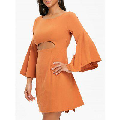 Cut Out Bell Sleeve Mini Dress