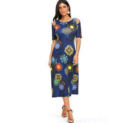 Printed Cold Shoulder A Line DressWomens Dresses<br>Printed Cold Shoulder A Line Dress<br><br>Dresses Length: Mid-Calf<br>Material: Polyester<br>Neckline: Round Collar<br>Package Contents: 1 x Dress<br>Pattern Type: Print<br>Season: Fall, Spring, Summer<br>Silhouette: A-Line<br>Sleeve Length: Short Sleeves<br>Sleeve Type: Cold Shoulder<br>Style: Casual<br>Weight: 0.3500kg<br>With Belt: No