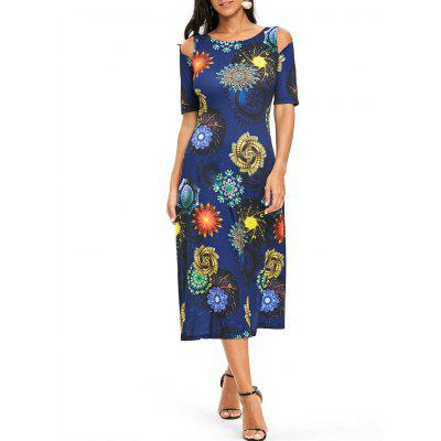 Printed Cold Shoulder A Line Dress