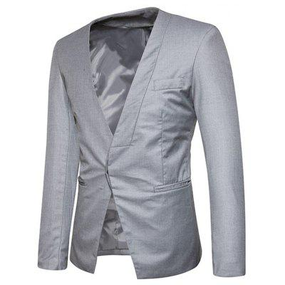Covered Button Collarless BlazerMens Blazers<br>Covered Button Collarless Blazer<br><br>Closure Type: Single Breasted<br>Material: Polyester<br>Package Contents: 1 x Blazer<br>Shirt Length: Regular<br>Sleeve Length: Long Sleeves<br>Weight: 0.5500kg