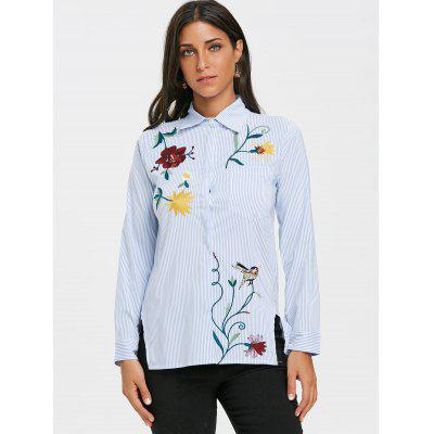 Embroidered Striped High Low BlouseBlouses<br>Embroidered Striped High Low Blouse<br><br>Collar: Shirt Collar<br>Material: Polyester<br>Package Contents: 1 x Shirt<br>Pattern Type: Striped<br>Season: Fall, Spring<br>Shirt Length: Regular<br>Sleeve Length: Full<br>Style: Fashion<br>Weight: 0.2500kg