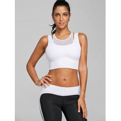 Mesh Panel Faux Twinset Sports BraLingerie &amp; Shapewear<br>Mesh Panel Faux Twinset Sports Bra<br><br>Bra Style: Unlined<br>Closure Style: None<br>Cup Shape: Full Cup<br>Embellishment: None<br>Materials: Polyester<br>Package Contents: 1 x Bra<br>Pattern Type: Solid<br>Strap Type: Non-adjusted Straps<br>Support Type: Wire Free<br>Weight: 0.1800kg