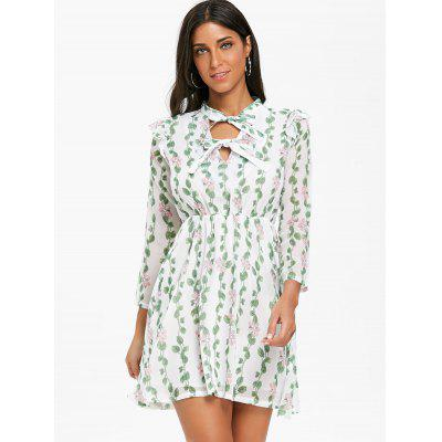 Bow Neck Floral Leaves Print Mini DressWomens Dresses<br>Bow Neck Floral Leaves Print Mini Dress<br><br>Dresses Length: Mini<br>Material: Polyester, Spandex<br>Neckline: Bow<br>Package Contents: 1 x Dress<br>Pattern Type: Print, Floral<br>Season: Fall, Spring<br>Silhouette: A-Line<br>Sleeve Length: 3/4 Length Sleeves<br>Style: Brief<br>Weight: 0.3000kg<br>With Belt: No