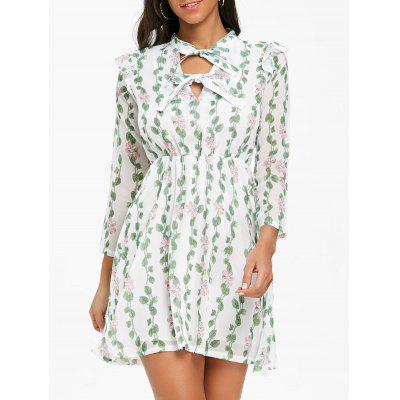 Bow Neck Floral Leaves Print Mini Dress