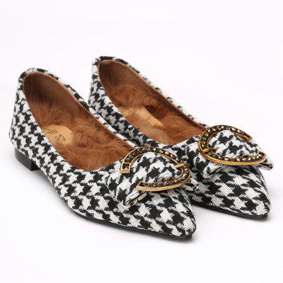 Point Toe Buckled Houndstooth Flats