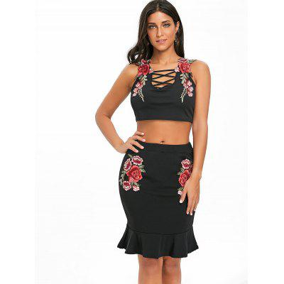 Floral Embroidery Two Piece DressWomens Dresses<br>Floral Embroidery Two Piece Dress<br><br>Dresses Length: Knee-Length<br>Embellishment: Criss-Cross,Embroidery<br>Material: Polyester, Spandex<br>Neckline: U Neck<br>Package Contents: 1 x Crop Top 1x Skirt<br>Pattern Type: Floral<br>Season: Fall, Spring, Summer<br>Silhouette: Bodycon<br>Sleeve Length: Sleeveless<br>Style: Brief<br>Weight: 0.3100kg<br>With Belt: No