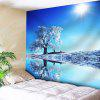 Winter Sunshine Snow Tree Reflection Wall Tapestry - BLUE
