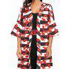 Bell Sleeve Leaves Print Striped Maxi Coat - RED