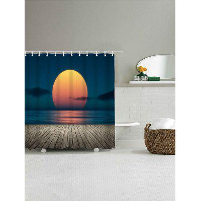 Sea Sunset Landscape Print Waterproof Shower Curtain natural landscape waterfall print waterproof shower curtain