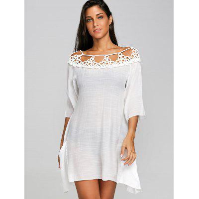 Crochet Insert Sheer Cover Up DressLingerie &amp; Shapewear<br>Crochet Insert Sheer Cover Up Dress<br><br>Cover-Up Type: Dress<br>Embellishment: Crochet<br>Gender: For Women<br>Material: Polyester<br>Package Contents: 1 x Dress<br>Pattern Type: Solid<br>Sleeve Length: 3/4 Length Sleeves<br>Weight: 0.1700kg