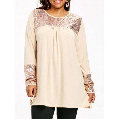 Plus Size Sequin Panel Tunic Smock Top