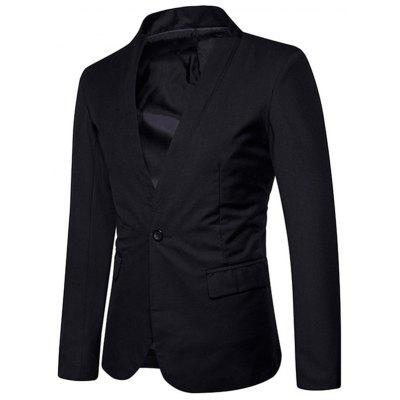 One Button Stand Collar BlazerMens Blazers<br>One Button Stand Collar Blazer<br><br>Closure Type: Single Breasted<br>Material: Polyester<br>Package Contents: 1 x Blazer<br>Shirt Length: Regular<br>Sleeve Length: Long Sleeves<br>Weight: 0.5500kg