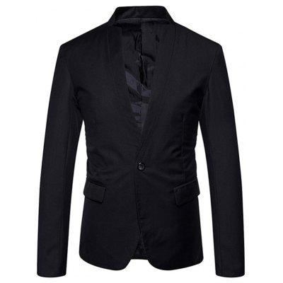 Buy BLACK L One Button Stand Collar Blazer for $50.21 in GearBest store
