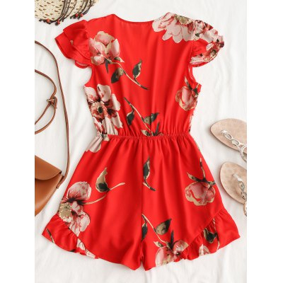 Floral Ruffle Tied RomperJumpsuits &amp; Rompers<br>Floral Ruffle Tied Romper<br><br>Embellishment: Ruffles<br>Fit Type: Regular<br>Material: Cotton, Polyester<br>Package Contents: 1 x Romper<br>Pattern Type: Floral<br>Style: Fashion<br>Weight: 0.2900kg<br>With Belt: No