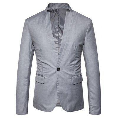 Buy GRAY L One Button Stand Collar Blazer for $50.21 in GearBest store