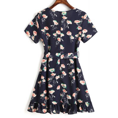 Floral Ruffle Belted Mini DressMini Dresses<br>Floral Ruffle Belted Mini Dress<br><br>Dresses Length: Mini<br>Embellishment: Ruffles<br>Material: Cotton, Polyester<br>Neckline: V-Neck<br>Occasion: Casual, Going Out<br>Package Contents: 1 x Dress  1 x Belt<br>Pattern Type: Floral<br>Season: Summer<br>Sleeve Length: Short Sleeves<br>Weight: 0.3200kg<br>With Belt: Yes