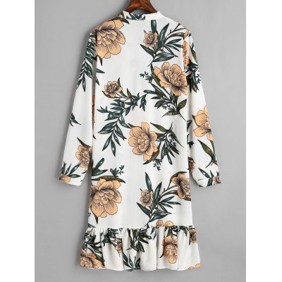 Floral Bow Tied Ruffle Long Sleeve DressLong Sleeve Dresses<br>Floral Bow Tied Ruffle Long Sleeve Dress<br><br>Dresses Length: Mid-Calf<br>Embellishment: Ruffles<br>Material: Cotton, Polyester<br>Neckline: Bowknot Collar<br>Occasion: Casual, Day<br>Package Contents: 1 x Dress<br>Pattern Type: Floral<br>Season: Spring, Fall<br>Silhouette: Straight<br>Sleeve Length: Long Sleeves<br>Style: Brief<br>Weight: 0.3100kg<br>With Belt: No