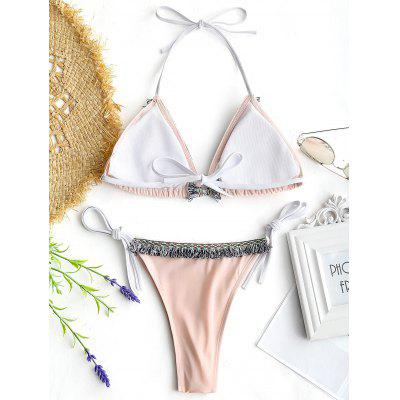 Tassels Thong String Bikini SetLingerie &amp; Shapewear<br>Tassels Thong String Bikini Set<br><br>Bra Style: Padded<br>Elasticity: Elastic<br>Gender: For Women<br>Material: Chinlon<br>Neckline: Halter<br>Package Contents: 1 x Bra  1 x Briefs<br>Pattern Type: Others<br>Support Type: Wire Free<br>Swimwear Type: Bikini<br>Waist: Natural<br>Weight: 0.1900kg