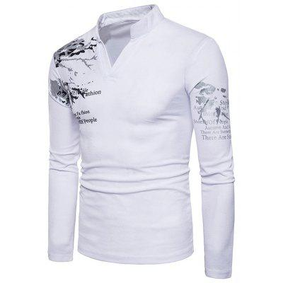 Split Neck Graphic Printed TeeMens Long Sleeves Tees<br>Split Neck Graphic Printed Tee<br><br>Collar: Notched<br>Material: Cotton, Spandex<br>Package Contents: 1 x Tee<br>Pattern Type: Letter<br>Season: Fall, Spring<br>Sleeve Length: Full<br>Style: Casual<br>Weight: 0.3000kg