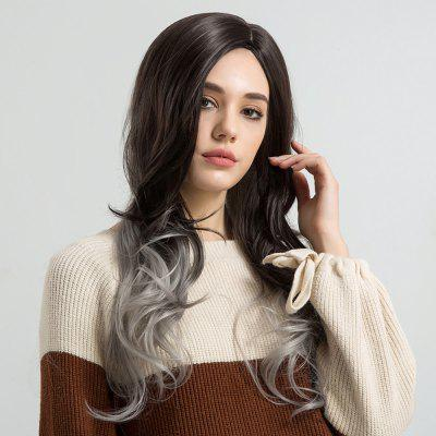 Long Side Parting Ombre Wavy Synthetic Fiber Wig long side parting fluffy layered wavy synthetic wig